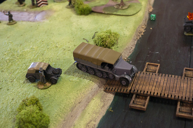 Halftrack moves onto the bridge