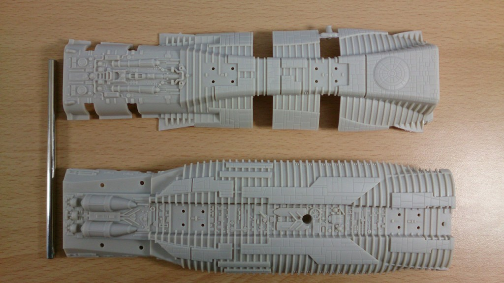 Hull sections and supporting pin
