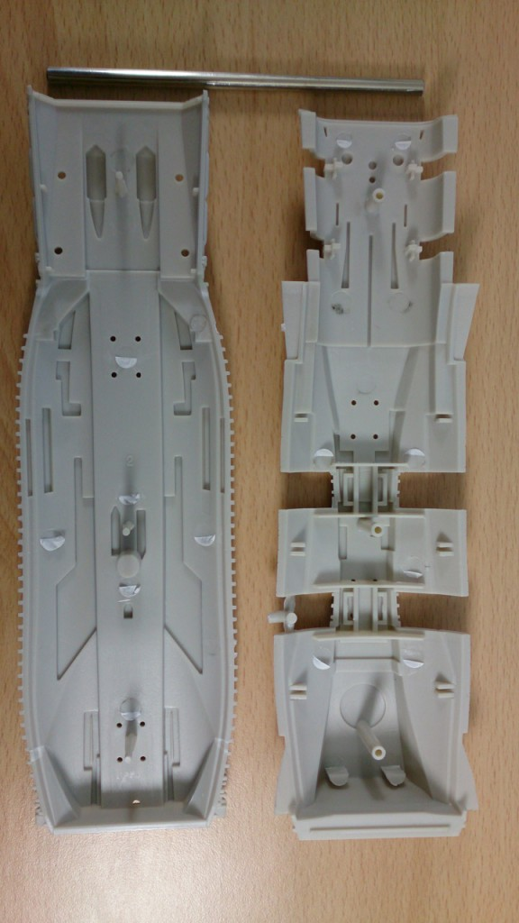 Hull sections and supporting pin from underneath
