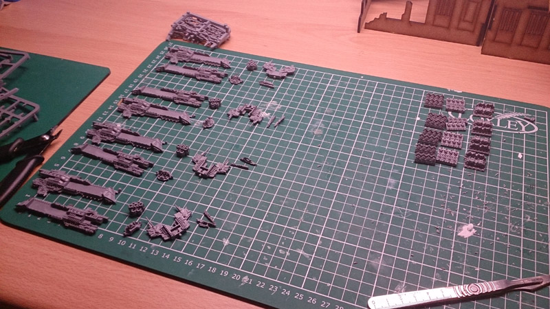 Magnetising Battlefleet Gothic Ships - Parts laid out