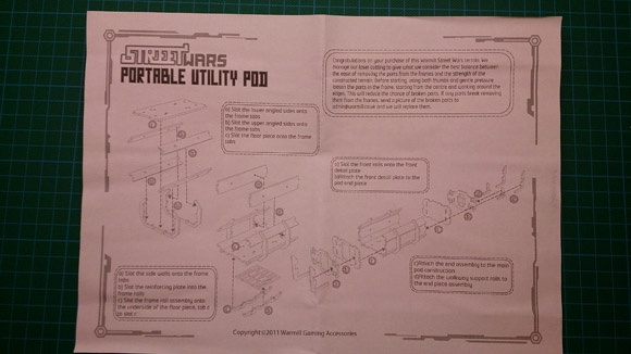 Portable Utility pod - instructions side 1