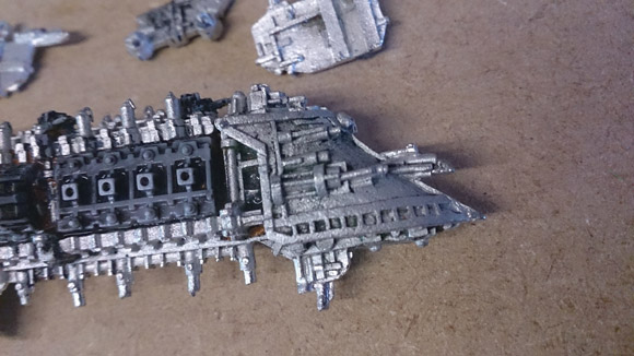 Stripping paint from miniatures - close up stripped model