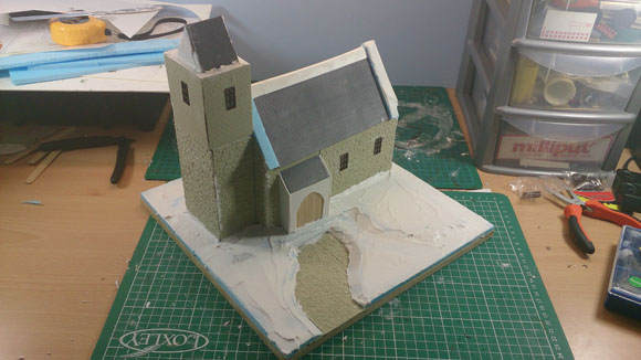 Scratch Built 28mm church - fillered