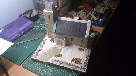 Scratch Built 28mm church - base textured