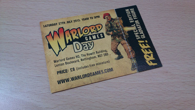 Warlord Games Open Day Golden Ticket